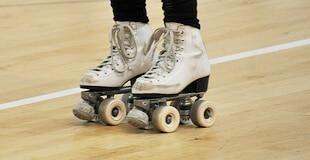 Roller skating in roller rink