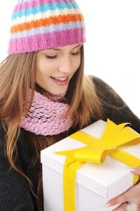 teen girl with gift box
