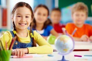elementary school girl in class